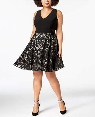 Xscape Evenings Plus Size Solid & Damask Illusion Dress