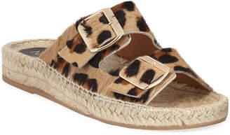Neiman Marcus Leopard Calf-Hair Espadrille Slides