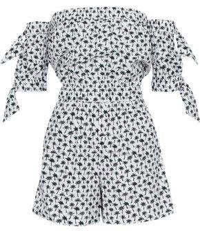 Milly Zoey Off-The-Shoulder Printed Stretch-Cotton Playsuit