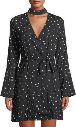 J.o.a. Star-Print Choker-Neck Wrap Dress