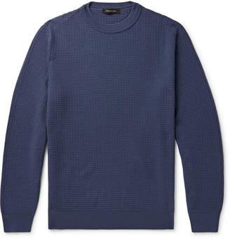 Ermenegildo Zegna Waffle-knit Wool And Cashmere-blend Sweater - Blue