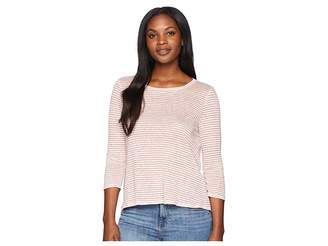 Three Dots Mojave Stripe 3/4 Sleeve Cross-Back Top Women's Long Sleeve Pullover