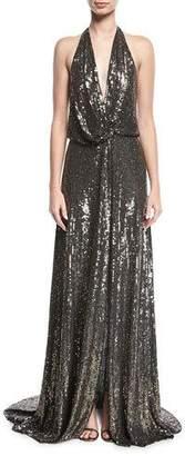 Jenny Packham Molten Sequin Halter Gown