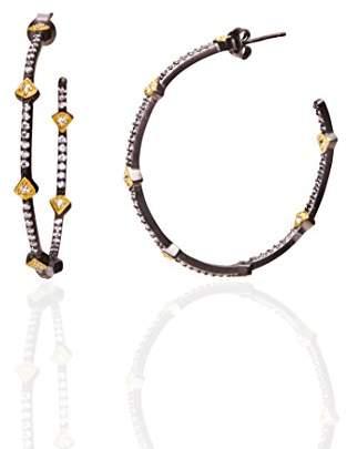 Freida Rothman Women's 14ct Gold Plated Sterling Silver Reverse Arrow Station Hoop Earrings