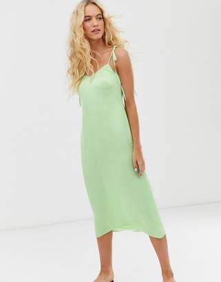 And other stories & slip dress with tie shoulder details in sage green