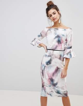 Little Mistress printed flute sleeve dress