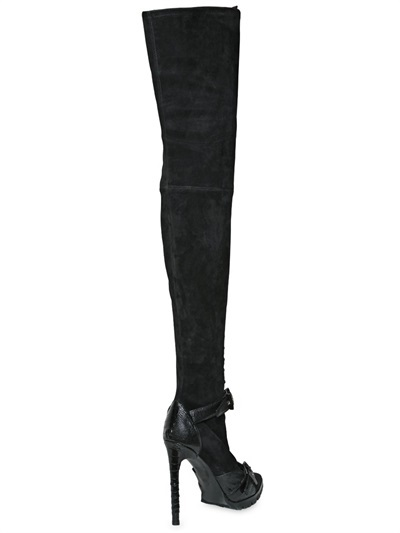 Emilio Pucci 115mm Suede Ostrich Over The Knee Boots