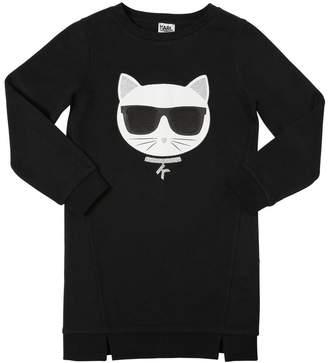 Karl Lagerfeld Choupette Print Cotton Sweatshirt Dress