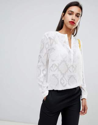 French Connection Edna Fil De Coup Sheer Blouse