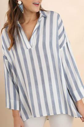 Umgee USA Striped Collared Tunic