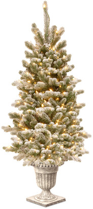 clear National Tree Company 4' Feel Real Snowy Sheffield Spruce Entrance Tree In Silver Brushed Urn With 70 Lights