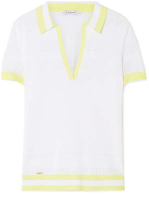 L'Etoile Sport - Pointelle-trimmed Striped Stretch-knit Polo Top - White
