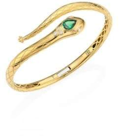 Temple St. Clair Serpent Bella Diamond, Tsavorite& 18K Yellow Gold Bangle
