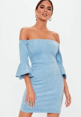 Missguided Blue Faux Suede Bardot Mini Dress