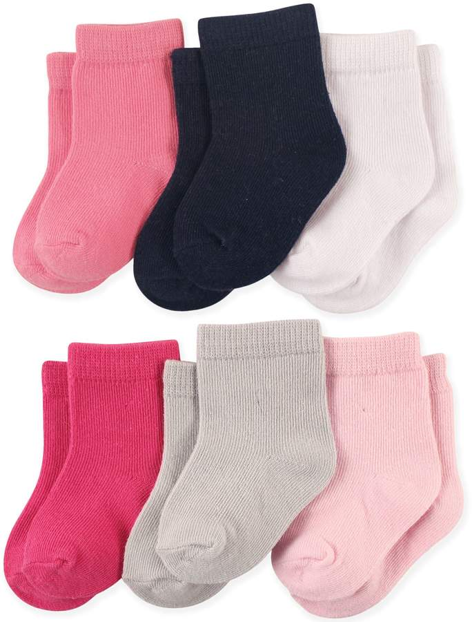 Luvable Friends 6-Pack Basic Crew Socks in Pink