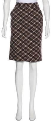 Tory Burch Wool Knee-Length Plaid Skirt