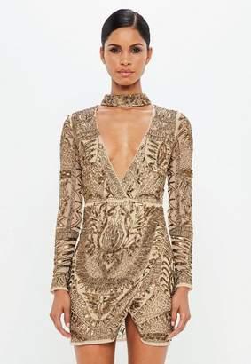 Missguided Gold Choker Neck Embellished Wrap Dress
