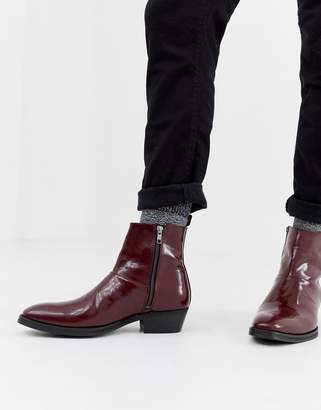 a636af54c24 Asos Design DESIGN stacked heel western chelsea boots in burgundy leather
