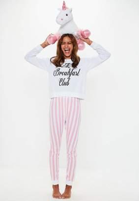 Missguided White Breakfast Club Legging Pyjama Set