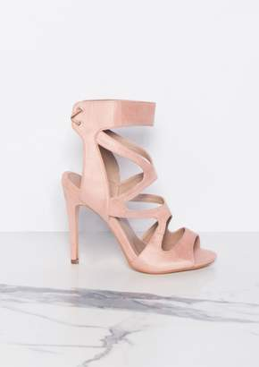 2165c317b81 Missy Empire Missyempire Audrey Pink Cut Out Suede Lace Up Heels