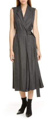 Jason Wu Pinstripe Suiting Wrap Midi Dress
