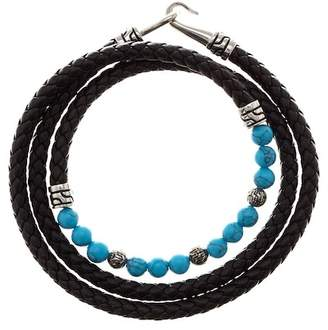 Jean Claude Beaded Turquoise & Braided Leather Wrap Bracelet