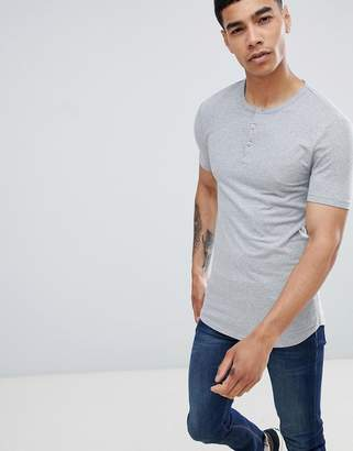 Asos DESIGN muscle fit t-shirt with grandad neck in gray