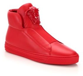 Versace Idol Tonal Pallazo Leather High-Top Sneakers $1,175 thestylecure.com