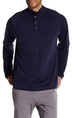 Hawke & Co Partial Button-Up Long Sleeve Shirt