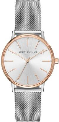 Armani Exchange Lola Silver and Rose Gold Stainless Steel Mesh Bracelet Ladies Watch