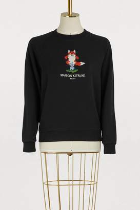 MAISON KITSUNÉ Cotton pixelated fox sweatshirt