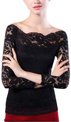 Bling Stars Women'S Boat Neck Floral Lace Long Sleeve Embroidery Off Shoulder Blouse Shirt Top