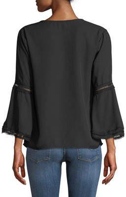 Neiman Marcus Mesh-Lace Trim Flare-Sleeve Blouse