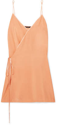 Kiki de Montparnasse Wrap-effect Charmeuse-trimmed Washed-silk Chemise - Orange
