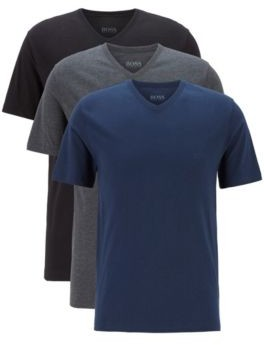 BOSS Three-pack of V-neck underwear T-shirts with embroidered logo