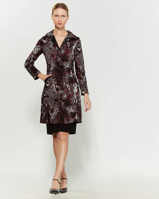 Samantha Sung Parisienne Black Hawk Print Reversible Trench Coat