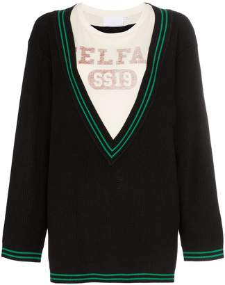 Telfar logo-print layered V-neck sweater