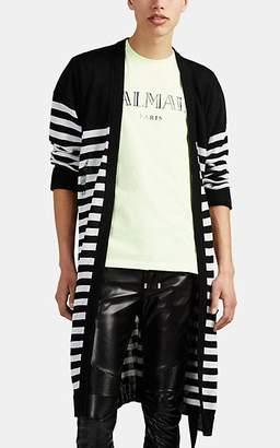 Balmain Men's Distressed Striped Linen Long Cardigan - Black