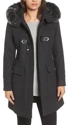 Trina Turk Connie Genuine Fox Fur Trimmed Duffle Coat