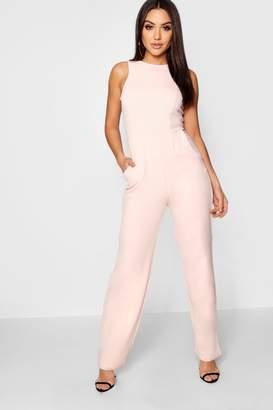 boohoo Jenny Round Neck Textured Jumpsuit