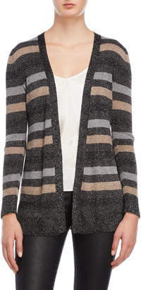 Cable & Gauge Striped Lurex Open Cardigan
