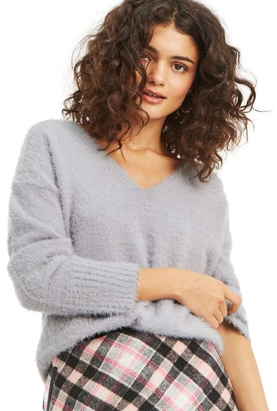 Mid Grey 'Aria' Eyelash V Neck Jumper