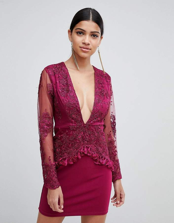 Love Triangle long sleeve embroidered lace dress with tassel trim
