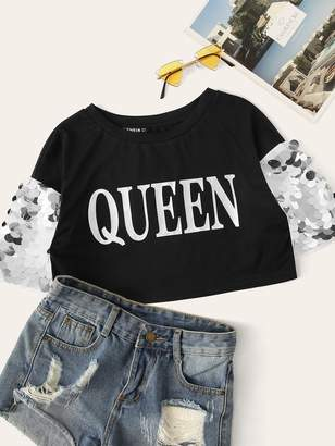 b7e70c8152 Shein Contrast Sequin Letter Print Crop Tee