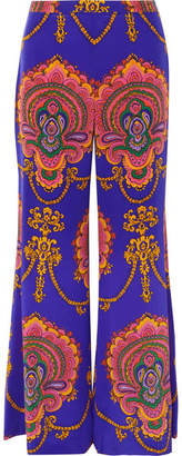 Gucci Printed Silk Crepe De Chine Wide-leg Pants - Purple
