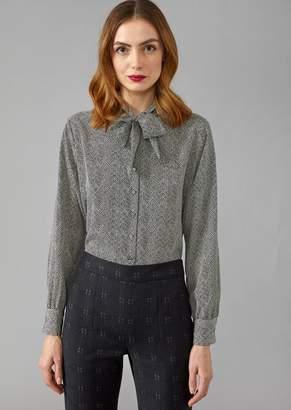 Giorgio Armani Pure Silk Shirt With Chevron Pattern