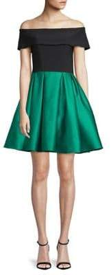Betsy & Adam Satin Off-The-Shoulder Fit--Flare Dress