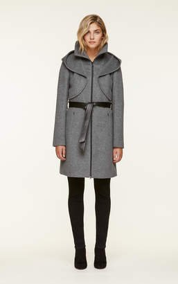 Soia & Kyo ARYA slim-fit wool coat with dramatic hood