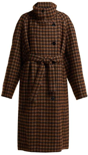 Checked Cotton Blend Coat - Womens - Brown Multi