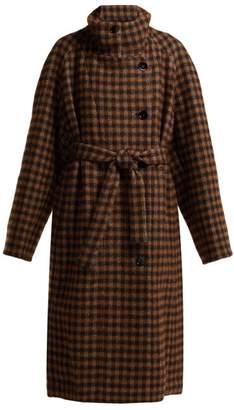 Lemaire Checked Cotton Blend Coat - Womens - Brown Multi